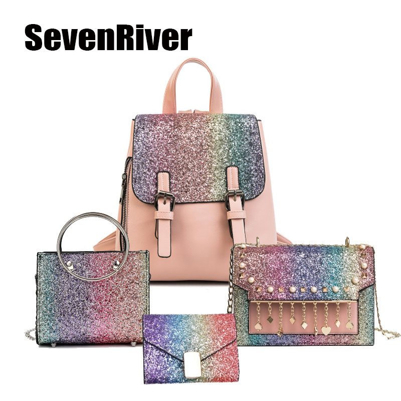 May New Bags Women Sequins Bags Colorful Shoulder Bag School PU Rainbow Sequins Summer Trendy Girl GIft