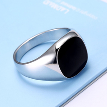 KOVTIA Fashion Men Jewelry Black Rings Zinc Alloy Wedding Bands Cheap Men Ring Hot Sale White Gold Color Smooth Rings anel