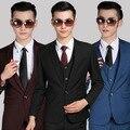Бесплатная доставка новый 2015 Корейский стиль мужской одежды мужчин костюм куртки одна кнопка две кнопки свадебные костюмы для мужчин костюмы с брюками