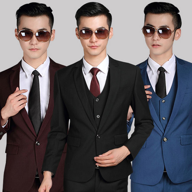 Free shipping new 2015 Korean style men clothing men suit jackets one button two button wedding