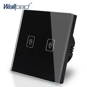 Image 5 - Interruptor de atenuación de 2 entradas, 1 vía, Wallpad, interruptor de pared de cristal blanco de lujo, Interruptor táctil Normal de 110 250V, estándar europeo