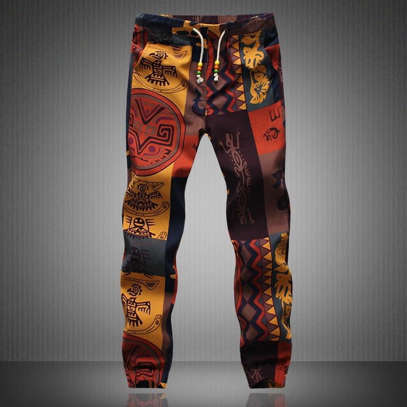 Linen Pants Joggers Men Trouser New-Fashion Male Summer Casual Autumn Spring Floral-Print