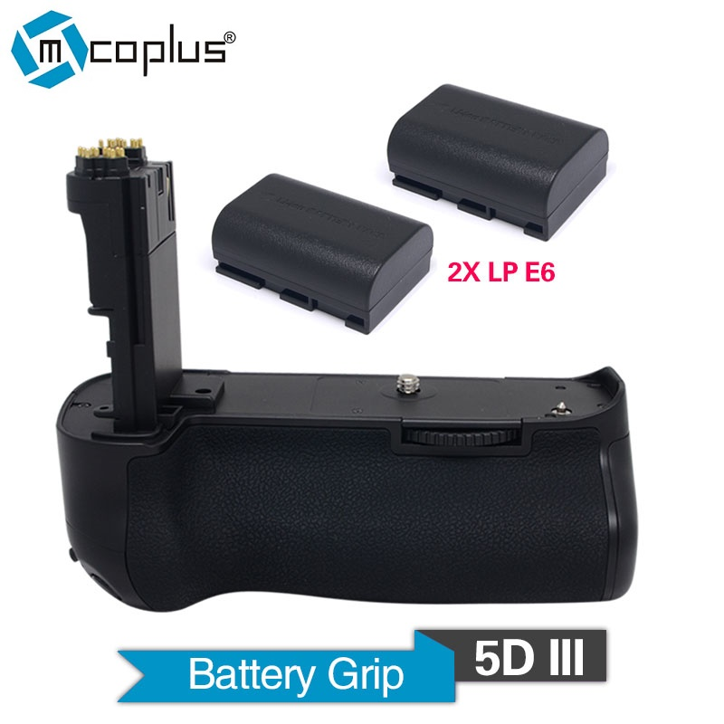 Mcoplus Venidice VD- 5DIII Vertical Battery Grip Holder with 2pcs LP-E6 Batteries for Canon 5D Mark III Camera  as BG-E11 meike mk 5d4 vertical battery grip for canon eos 5d mark iv as bg e20 compatible camera works with lp e6 or lp e6n battery
