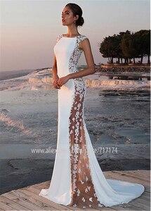 Image 2 - Vestido de novia de satén elástico, cuello de murciélago, corte lateral, con aplicaciones encaje con cuentas