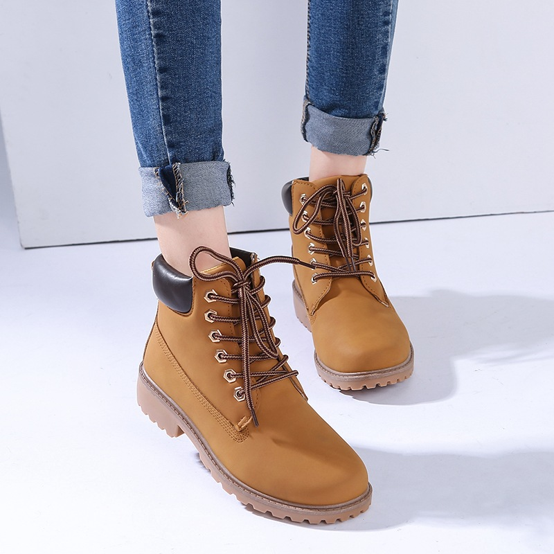 New 2017 Autumn Early Winter Shoes Women Flat Heel Boots Fashion PU snow Boots Woman Ankle Hard Outsole