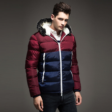 Free Shipping 2015 Contrast Color Mens Winter Jackets Men's Parka Fur hood Men Coat Winter Casual & Fit Thick Man Down Jacket