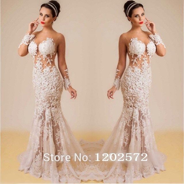 Sexy Sheer Long Sleeves Nude Back White Lace Prom Dresses 2015 Formal Evening Gowns -7953