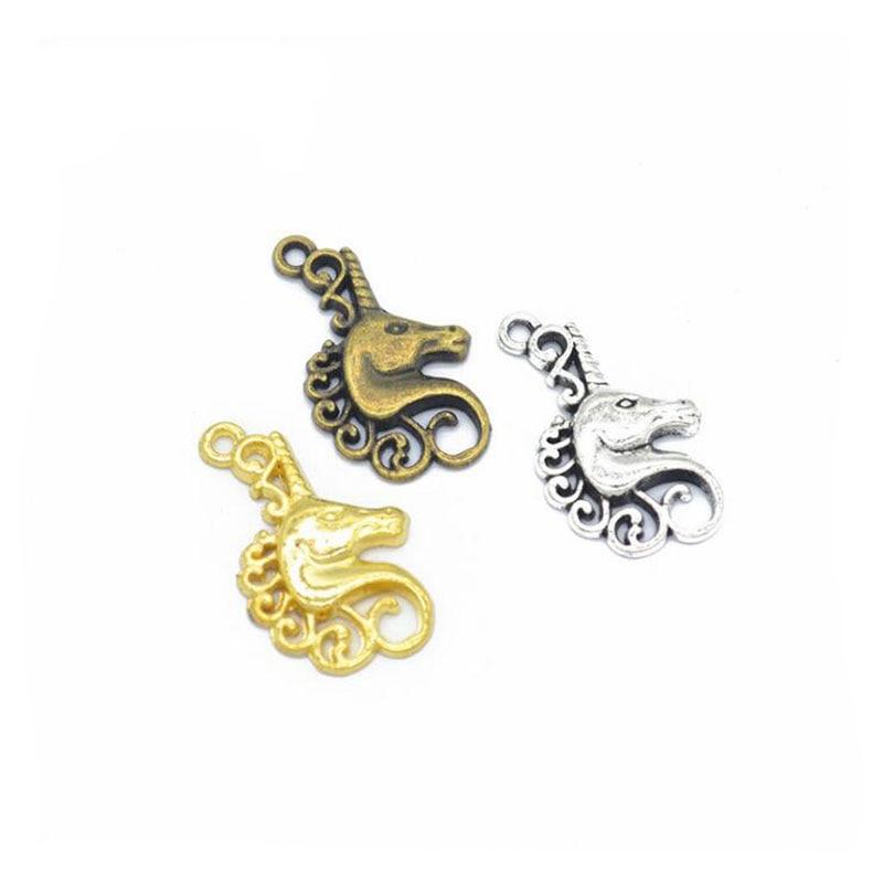 50pcs/lot Antique Silver/ Antique Bronze Plated Alloy Unicorn Charm Pendant Handmade Hanging Crafts 26x15mm