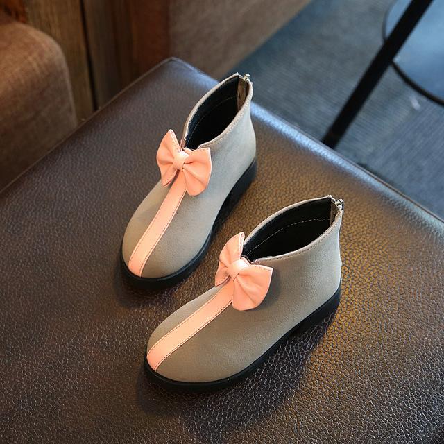 Botas de niña 2016 niños del otoño niñas Moda y Acogedor Gamuza botines niños bowknot botas cortas botas zapatos de la muchacha 27-37