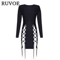 In Stock Wholesale Sexy Club Dresses 2017 New Arrival Black Lace Up Runway Bodycon Dress Bandage