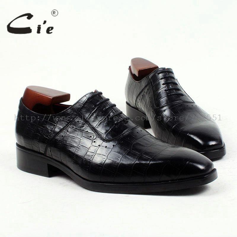 Cie bout carré 100% véritable veau en cuir en relief crocodile sur mesure en cuir hommes chaussures à la main hommes chaussures oxford laçage appartements OX419