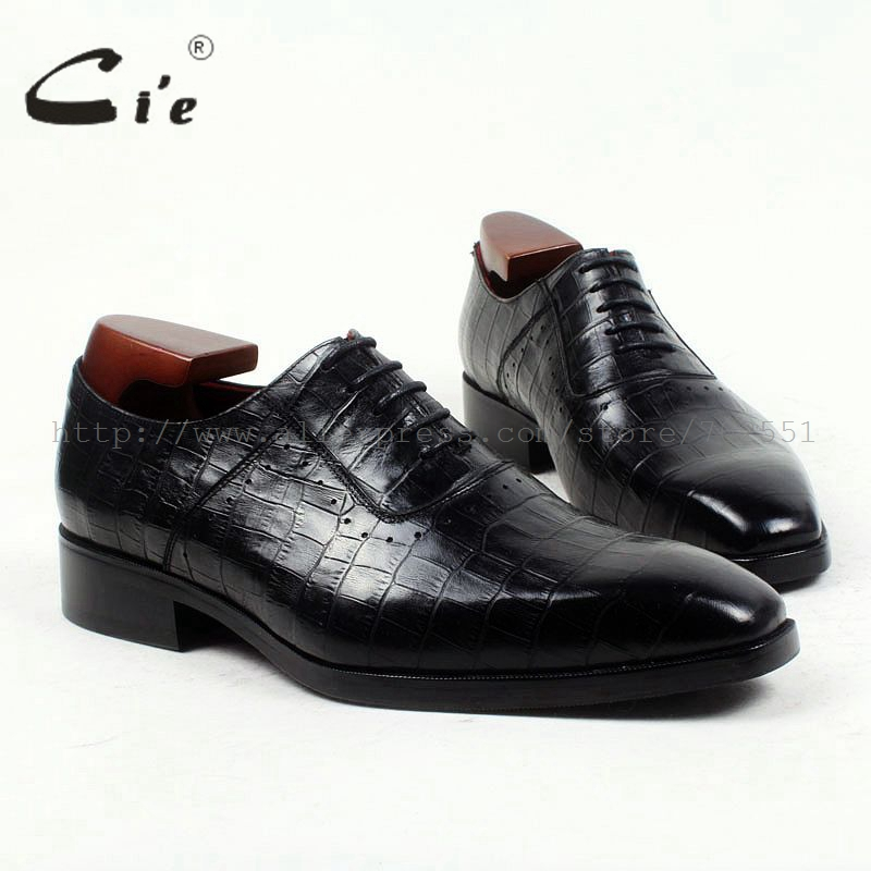 cie square toe 100%genuine calf leather embossed crocodile bespoke leather men shoe handmade men shoe oxford lacing flats OX419 cie square toe plain handmade men s lacing derby 100