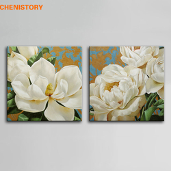 Unframed Modern Abstract Oil Painting White Flower Vintage Handpainted Painting Wall Art Picture For Wedding Home Decoration