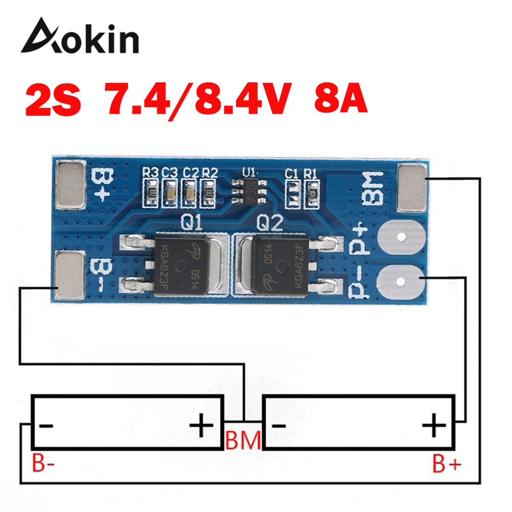 2s 8a Li-ion 7.4v 8.4v 18650 Bms Pcm 15a Peak Current Battery Protection Board Bms Pcm For Li-ion Lipo Battery Cell Pack Max 15a