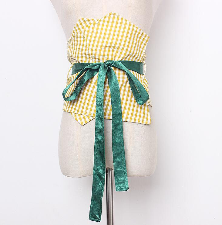 Women's Runway Fashion Plaid Fabric Bow Cummerbunds Female Dress Corsets Waistband Belts Decoration Wide Belt R1672