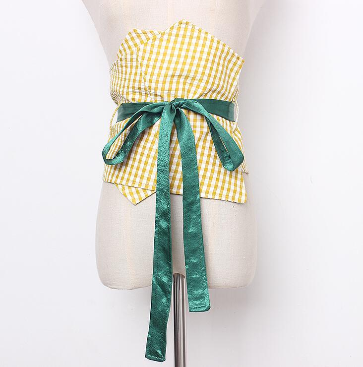 Women's Runway Fashion Plaid Fabric Bow Cummerbunds Female Dress Corsets Waistband Belts Decoration Wide Belt R1672