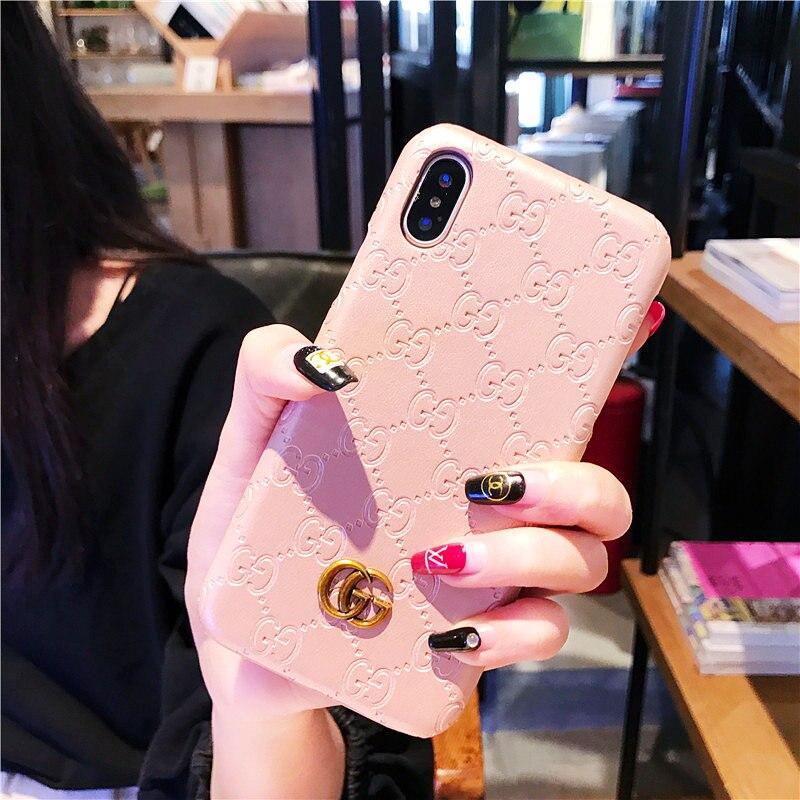 Berühmte Telefon Fällen für iPhone X 6 6 s 7 8 Plus Vintage Business Luxus Mode PU Leder Metallic Marke telefon Abdeckung Zubehör
