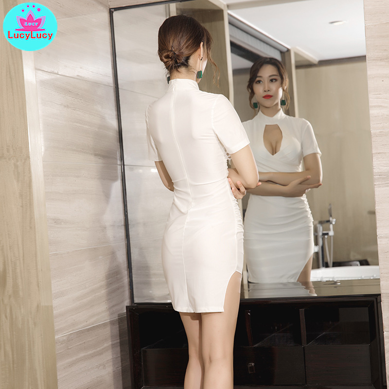 2019 summer new women 39 s Korean version of the hips chest sexy short nightclub dress Knee Length Solid Sheath in Dresses from Women 39 s Clothing