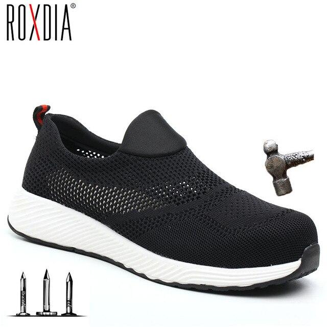 ROXDIA ブランド夏軽量スチールつま革男性女性ワーク & 安全ブーツ通気性の男性女性の靴プラスサイズ 36- 45 RXM120