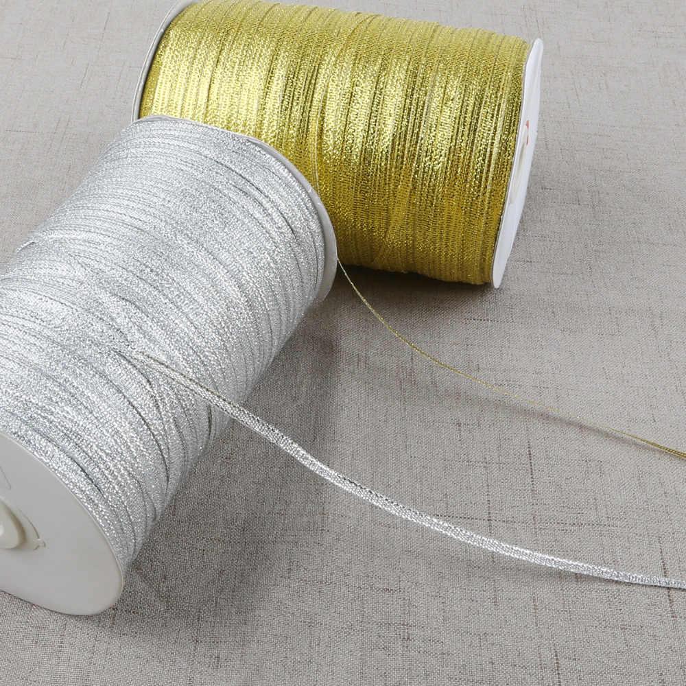 20 yardas 3mm ancho oro/plata metálico brillo cinta DIY artesanía costura regalo embalaje cinturón boda fiesta Navidad año Nuevo decoración de