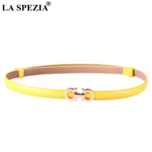 LA SPEZIA Women Thin Belt Adjustable Real Leather Ladies Yellow Double Buckle Genuine Cow Narrow Waist Jeans