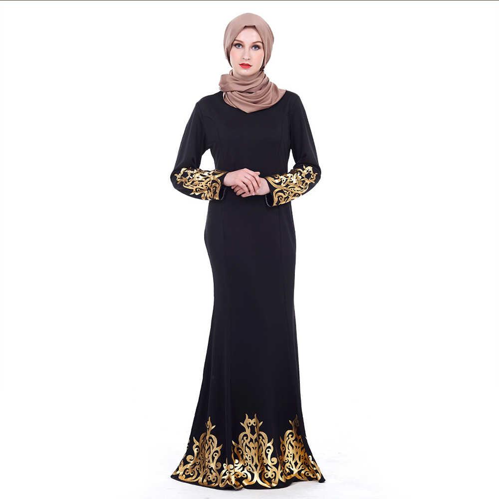 ee933dd2 ... Gold Stamping Print Dubai Abaya Black Long Sleeve Dresses Kaftan Palace  Style Muslim Women Abayas Female ...
