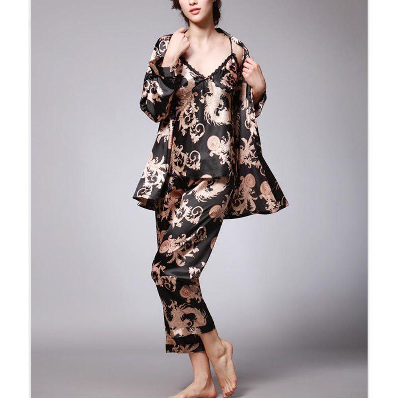 Spring Autumn Women Robe Sexy Sleep Lounge Dragon Print Night Shirt Pants Pajama Sets