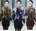 2016 мода новый женский свитер платье зиму женщина свитер Большой размер вязать свитер туника фиолетовый, Зеленый, Коричневый с,ML Xl, Xxl, Xxxl