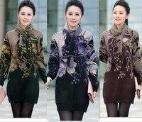 2014 Fashion New Women Sweater Dress Winter Long Woman Sweater Plus Size Knit Sweater Tunic Purple