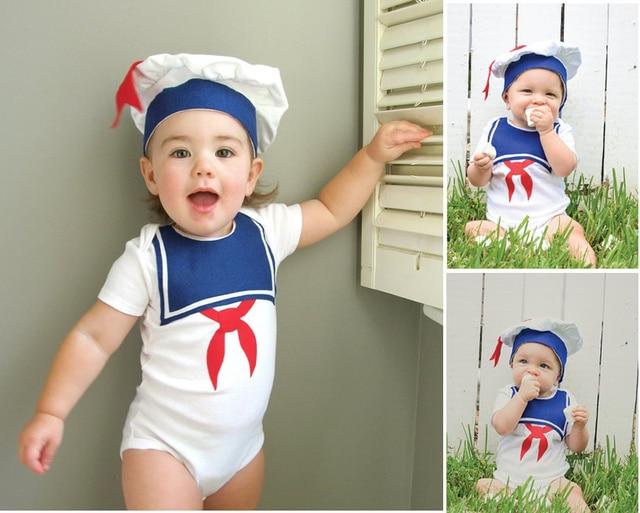 2pcs Infant Children Baby Girl Boy Clothes Toddlers Unisex Short Sailor Hat+Bodysuit Jumpsuit Ropa de Bebe Outfit