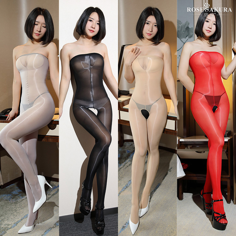 2018 New 8D Oil Shiny Open Crotch Bodystocking For Women Sheer Smooth High Elastic Sexy Tight Panthose Plus Size