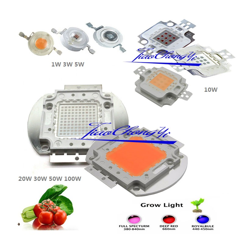 1 Вт-100 Вт высокое Мощность светодиодный чип 660nm глубокий красный светодиод светать Королевский синий 445nm полный Specturm LED 380nm-840nm лампа