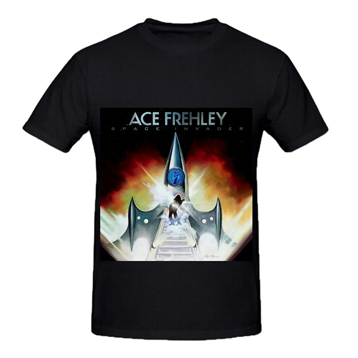 Handsome Short Sleeved T Shirt Male Ace Frehley Space Invader Men Crew Neck Art T Shirts ...