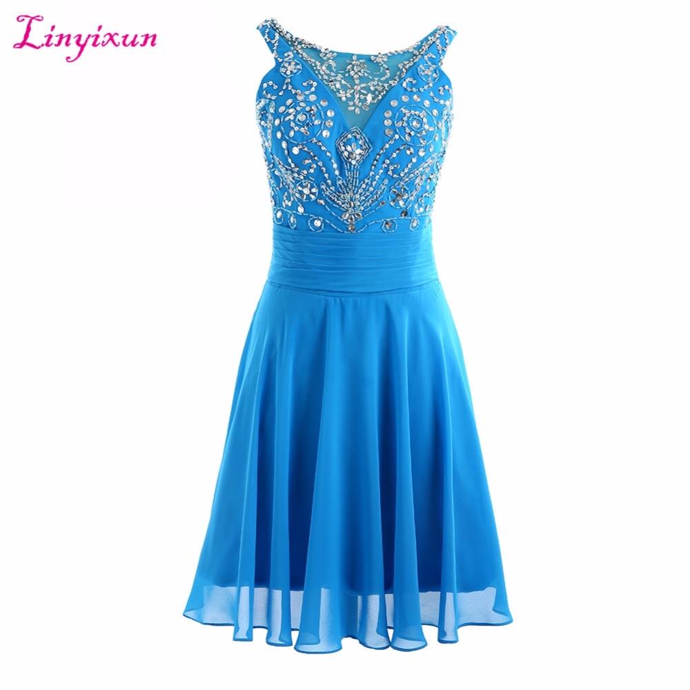 Linyixun Real Photo 2017 A-Line Chiffon Short   Cocktail     Dresses   Beaded Bodice Homecoming   Dresses   2017 Lace Up Prom   Dresses