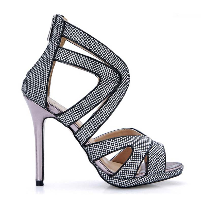 big size 35 43 women summer boots fashion cut outs hollow open toe zipper pumps sexy high heeled ladies polka dot sandals shoes