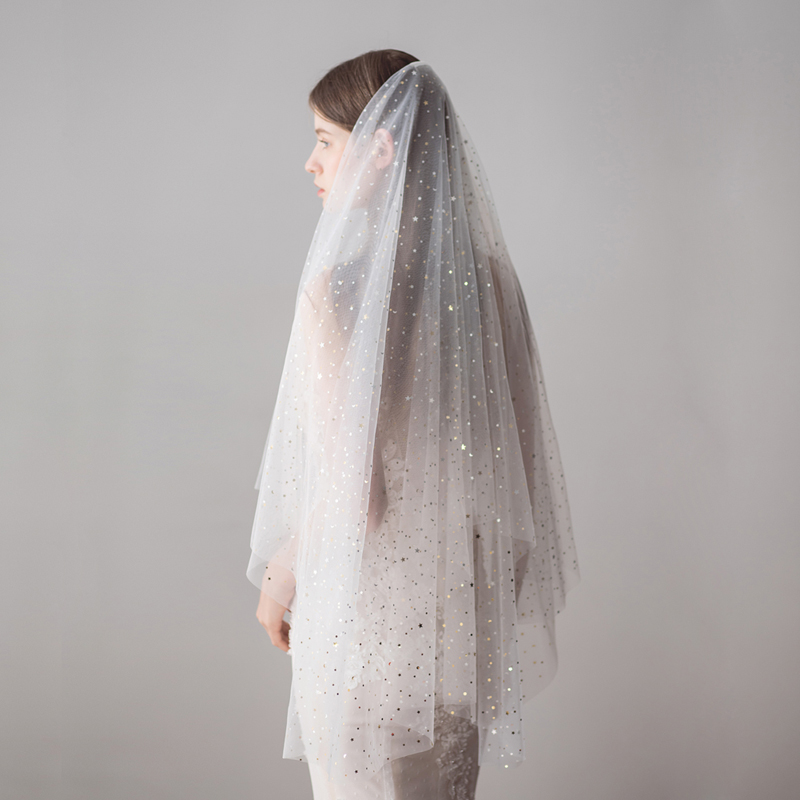 100 cm Shinny Long Brides Veil for Women Tulle Bridal Veil Wedding Dress Accessory High Quality