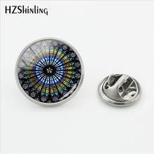 2018 Baru Notre Dame De Paris Katedral Rose Window Pin Stainless Steel Kerah Pin Perak Kaca Cabochon Perhiasan(China)