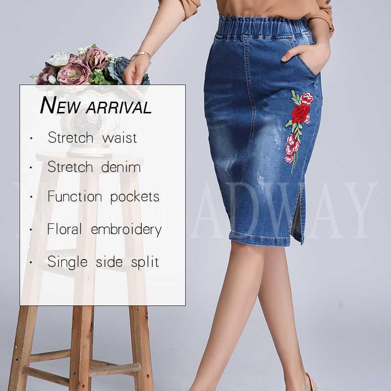 e360ca88a67 ... Эластичный пояс цветочный джинсовые юбки с вышивкой Женские 2018 осень  короткая джинсовая юбка-карандаш плюс ...