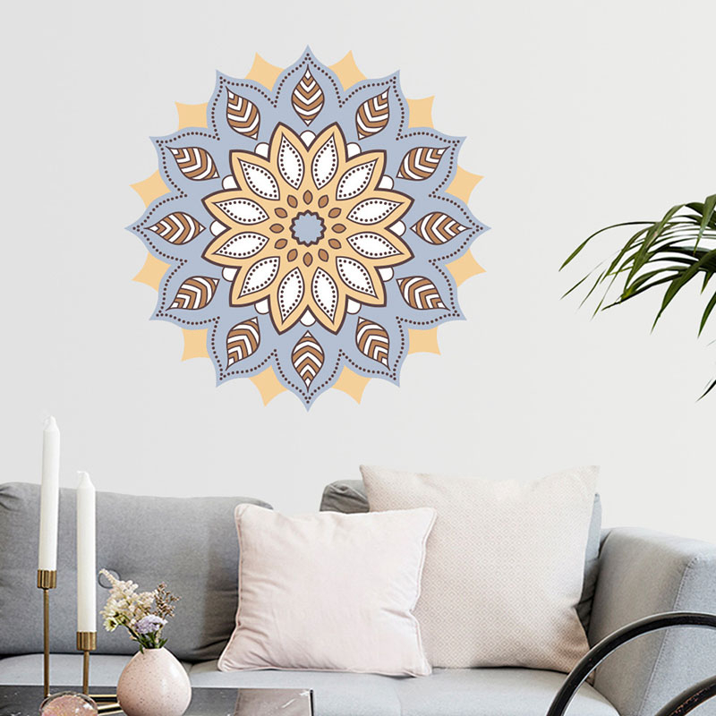 Colorful Mandala Flower Indian Bedroom Living Room Wall Stickers Decal Art Mural Home Removable Wall Decal TV Background Poster in Wall Stickers from Home Garden