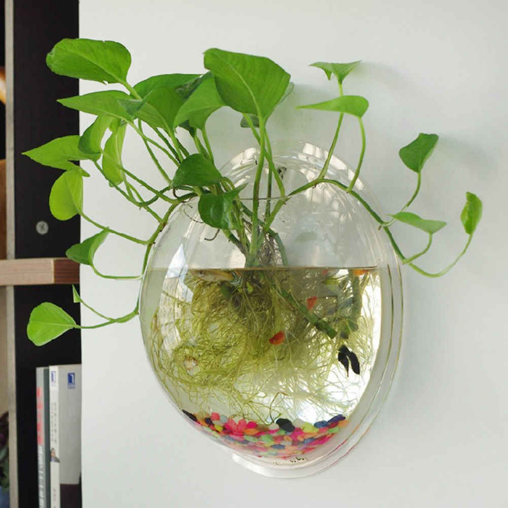Terrarium Ball Globe Shape Clear Hanging Glass Vase  Flower Planter Pots Wall Fish Tank Aquarium Container Homw Decor