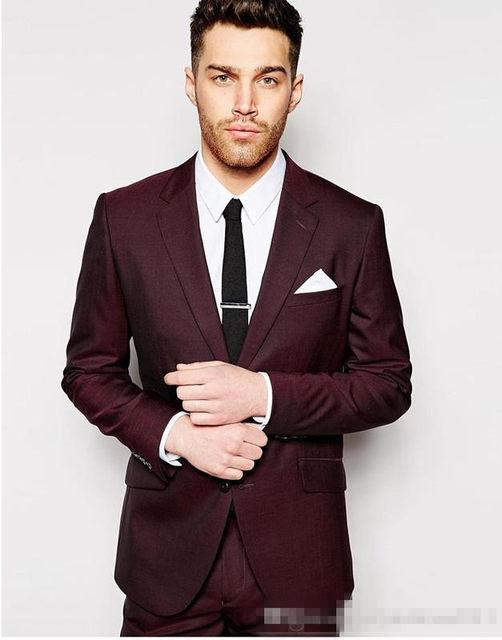 Online Shop Dark Wine Red Mens Wedding Suits 2 Pieces Groom Tuxedos ...