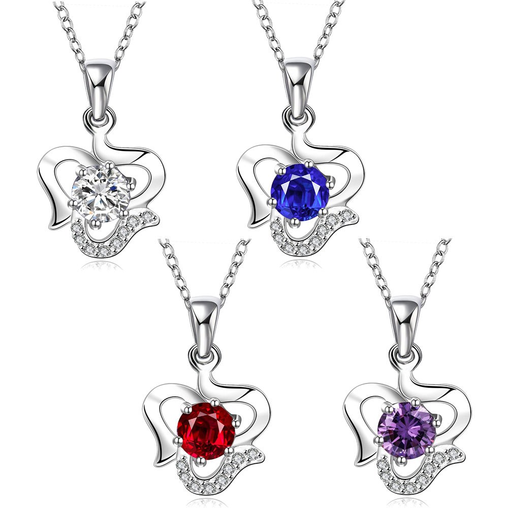 Fashion Brand Jewelry Necklace Silver plated cubic zirconia Clavicle Choker caribbean blue crystal Charms 17x24mm 18 Inch