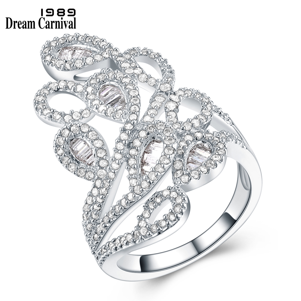 DreamCarnival 1989 Newest 2018 Abstract Wedding Luxury Jewelry Channel Setting CZ Stone Unique Special Design Women Rings YR6770