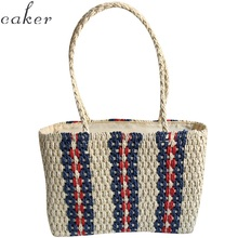 Caker Brand 2019 Women Stripe Large Big Straw Handbag High Quality Beach Bags