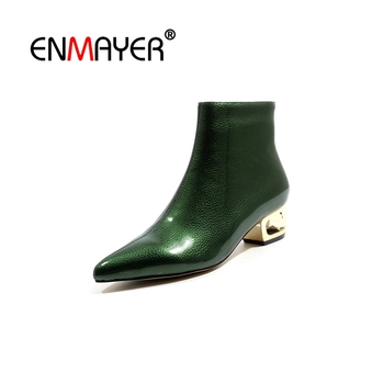 ENMAYER Woman Ankle boots Short boots Winter Shoes Pointed toe Black Size 34-39 Causal Real Leather Med heels Thin heels CR1933