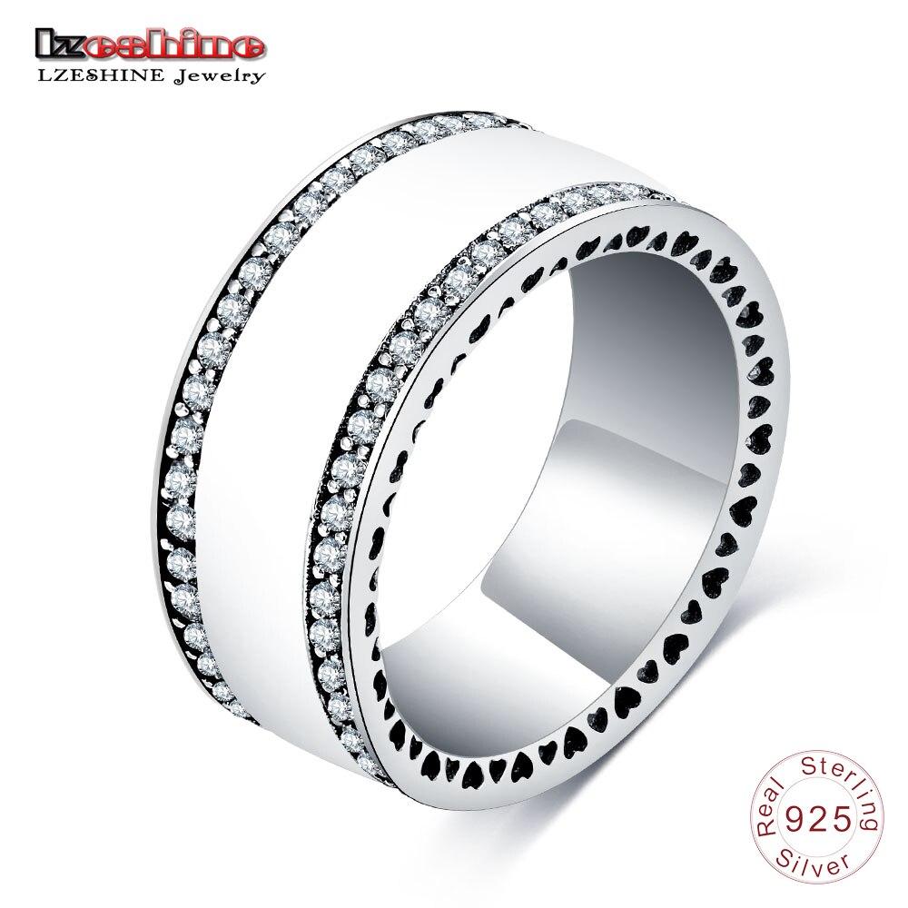 Verlobungsringe Lzeshine Neue Perlglanz Herzen Ring Für Frauen 925 Sterling Silber Zirkon Weiß Emaille Breiten Finger Ringe Original Schmuck 0124-b