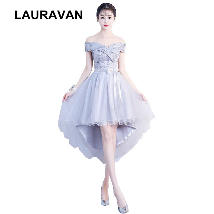 Robes De Soiree High Low Short Gray Girls Bridesmaid Dresses Lace Bridesmaids Dress 2018 For Party And Wedding Free Shipping