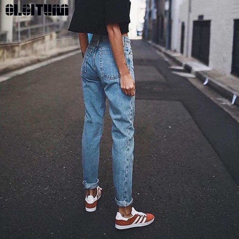 Korean Streetwear Denim Pants Ladies Blue Casual High Waist Slim Pencil Pants Retro BF Jeans For Women