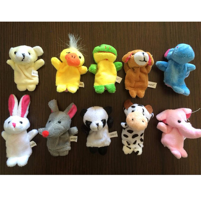 10 Pcs/lot Baby Plush Toys Cartoon Happy Family Fun Animal Finger Hand Puppet Kids Learning & Education Toys Gifts 3