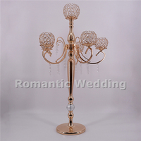 Free shipment 6PCS/lots 5 arm luxury tall crystal metal candlestick centerpiece for Wedding decoration event party decoration